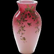 19th C. Thomas WEBB English PEACH BLOW Cased Glass Vase, JULES BARBE Decoration