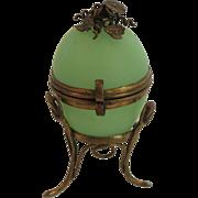 19th C. French Grand Tour Opaline Glass Egg Box, Brass Ormolu Stand