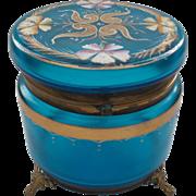 MOSER Art Glass Large Dresser Box, Blue with Enameled Decoration, c. 1890