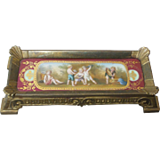 19th C. French Bronze Pin Tray, Sevres Porcelain Insert, Hand-Painted Children