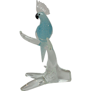 Mid-Century Murano AVENTURINE Art Glass Cockatoo Figurine