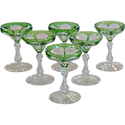 Set/6 American Brilliant Cut Glass Wine Goblets, Teardrop Stem