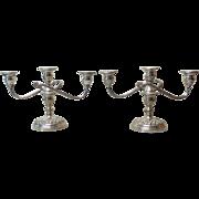 "Pair Vintage S. KIRK & SON Sterling Silver REPOUSSE 3-Lite 8"" Candelabra / Candlesticks, 1815 Grams"