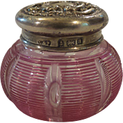 Stevens & WilliamsThreaded Cranberry Glass Dresser Box, Sterling Silver Lid