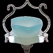English Silver Plate Basket, Blue Herringbone Mother-of-Pearl Satin Glass Dish, c. 1880