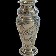 English Art Nouveau Sterling Silver Cabinet Vase, c. 1900