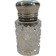 Vintage Cut Crystal Perfume/Scent Bottle, English Hallmarked Sterling Silver Lid