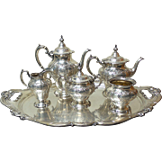 Gorham CHANTILLY DUCHESS 6-Piece Sterling Silver Coffee/Tea Set with Tray, 200 oz. T.