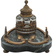 Fabulous 19th C. French Napoleon III Marble & Bronze Inkstand / Inkwell, Dolphins