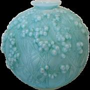 R. LALIQUE DRUIDES Vase, Opalescent with Aqua Blue Patina, c. 1920's