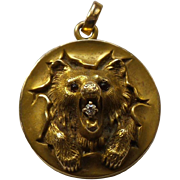 19th C. Estate 14 K Yellow Gold BEAR'S HEAD Locket / Pendant with Diamond in Mouth