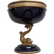 19th C. SEVRES French Porcelain Compote,  Bronze Dolphin Shaped Pedestal Base