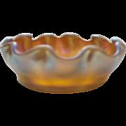 L. C Tiffany FAVRILE Gold Iridescent Art Glass Ruffled SALT CELLAR
