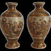 "Pair 19th C. Japanese SATSUMA 4.5"" Miniature Vases, Enamel & Gilt Decoration"