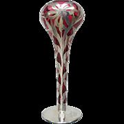 "Art Nouveau Sterling Silver OVERLAY on Cranberry Art Glass 10"" Vase"