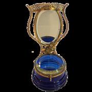 19th C. Glass Mirror-Back Dresser or Trinket Box, Gilt Ormolu Stand