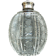 American Brilliant Period CUT GLASS Ladies Flask, Fraternal Crest on Silver Top