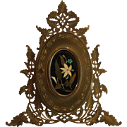19th C. Palais Royal PIETRA DURA (Marble Mosaic) Double Picture Frame, Gilt Ormolu Stand