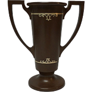 SILVER CREST Bronze Vase, Sterling Silver Overly, c. 1930's