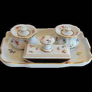 MEISSEN Porcelain 4-Piece Desk Inkwell Set, c. 1852-1870