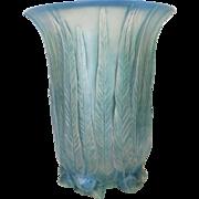 Gorgeous R. LALIQUE EUCALYPTUS Vase, Aqua Blue Patina/Staining, c. 1920's