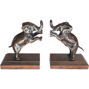 Vintage Bronze Standing Elephant Bookends