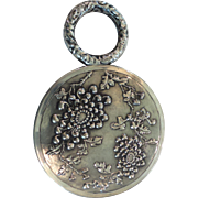 Unique Chinese Export Sterling Silver Chased Hand Mirror, c. 1919