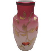 Peach Blow Glass Vase, ROCOCO ART GLASS, Enameled Decoration, Bohemian, c. 1900