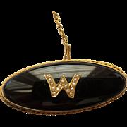 14 Karat Gold PIN / BROOCH, Onyx & Seed Pearls