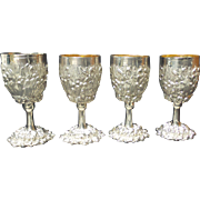 Set/4 Galmer Sterling Silver CHRYSANTHEMUM Repousse Wine Goblets