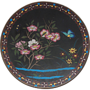 "19th C. Japanese CLOISONNE Enamel 9.75"" Plate / Charger, Butterfly & Flowers"
