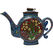 Chinese Cloisonne Enamel on Bronze TEAPOT, Foo Dog Finial