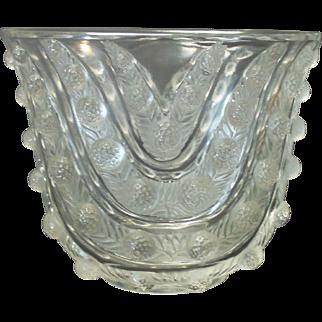 Original R. LALIQUE Crystal VICHY Art Glass Vase, c. 1937