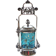 Victorian Pickle Castor, Aqua Enameled Glass Insert, c. 1890