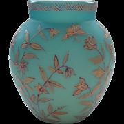 Nice Thomas Webb Blue Satin Art Glass Vase, JULES BARBE Enameled Design, c. 1880