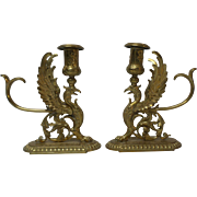 Unusual Pair 19th C. French Gilt Bronze Mythical GRIFFIN Candle Holders