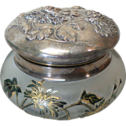 Stunning Verrerie de Sevres French Cameo Style Art Glass Dresser / Powder Box, Embossed Silver Plate Top