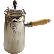 FRENCH Sterling Silver Chocolate Pot, Hinged Finial, 19th Century