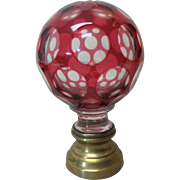 19th C. French Cranberry Cut-To-Clear Glass Newel Post Finial / BOULE D'ESCALIER