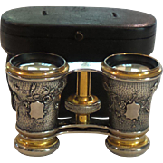 Antique French Embossed Silver & Brass Opera Glasses, Original Case, c. 1880