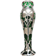 """Gorgeous Art Nouveau Sterling SILVER OVERLAY on GREEN 10"""" Art Glass Vase"""