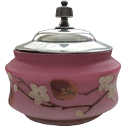 Victorian Pink SATIN GLASS Candy Dish Enameled Decoration, Silver Plated Top