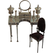 Rare 7-Piece Sterling Silver Vladimir Matusovsky Empress Maria Miniature Vanity Table Set