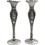 "Pair MAUSER Mfg. Co. Sterling Silver 6"" Candlesticks, Embossed CHERUBS"