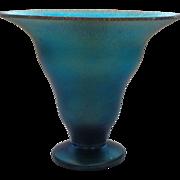 "WMF MYRA Kristall Art Deco Blue Iridescent Art Glass 4"" Vase, c. 1930's"