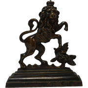 Unusual 19th C. Bronze ARMORIAL Lion with Rose Single Bookend