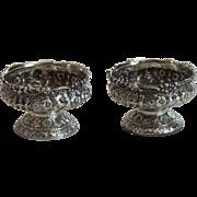 Pair TIFFANY & CO. Sterling Silver REPOUSSE Salt Cellars, c. 1873-91, 170 grams