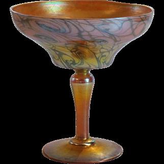 "QUEZAL Art Glass 6.5"" KING TUT Iridescent Compote, c. 1910, Signed"