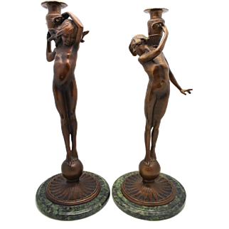 MCCARTAN American Bronze Pair Candlesticks 'Boy and Girl' Figures