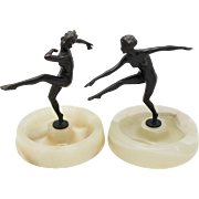 LORENZL Pair Vienna Bronze Dancers on Onyx Bases